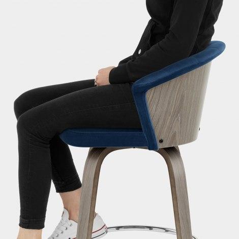 Concerto Wooden Stool Blue Velvet Seat Image