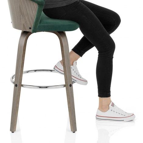 Concerto Wooden Stool Green Velvet Seat Image