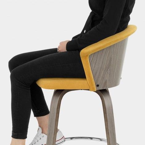 Concerto Wooden Stool Mustard Velvet Seat Image