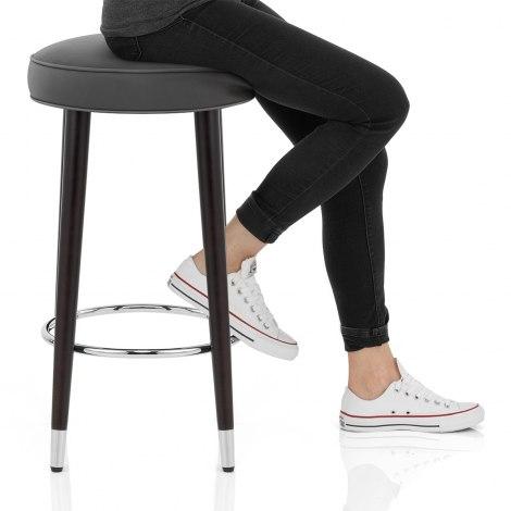 Conrad Bar Stool Grey Leather Seat Image