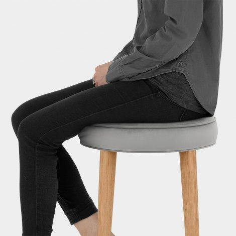 Conrad Oak Stool Grey Velvet Seat Image