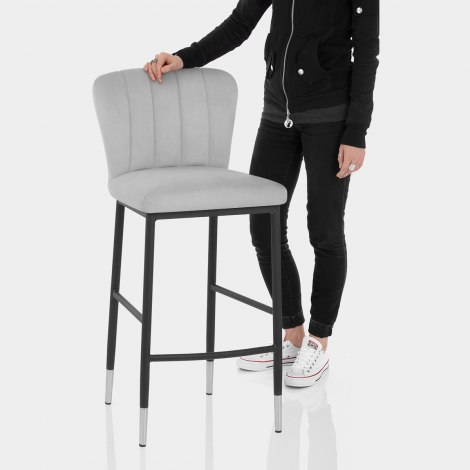 Coral Bar Stool Grey Velvet Features Image
