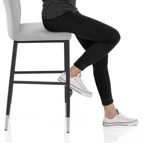 Coral Bar Stool Grey Velvet Seat Image