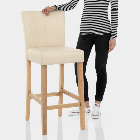 Cornell Oak Bar Stool Cream Features Image