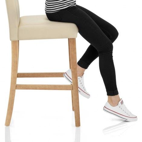 Cornell Oak Bar Stool Cream Seat Image