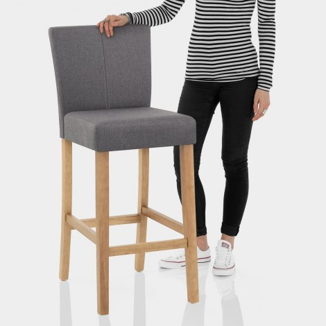 Cornell Oak Bar Stool Grey Fabric Features Image