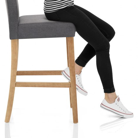 Cornell Oak Bar Stool Grey Fabric Seat Image