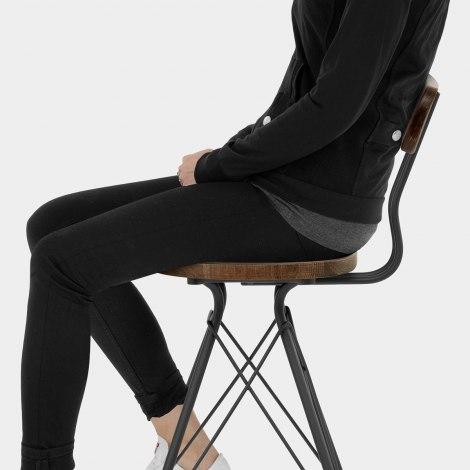 Crane Industrial Stool Dark Wood Seat Image