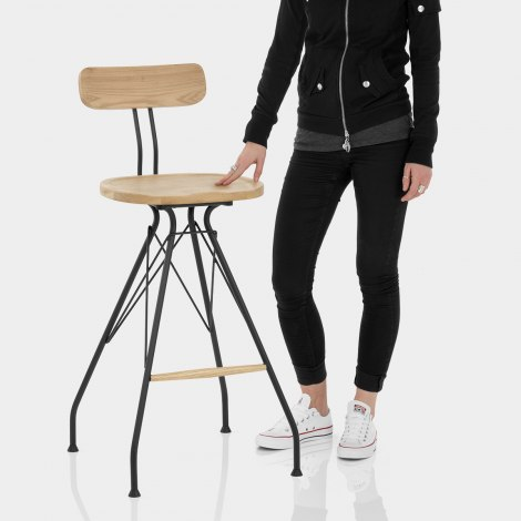 Crane Industrial Stool Light Wood Features Image