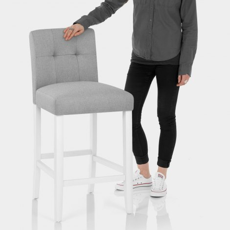Crawford Bar Stool Grey Fabric Features Image