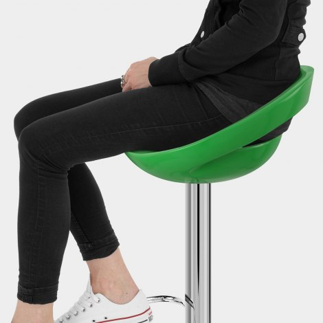 Crescent Bar Stool Green Seat Image