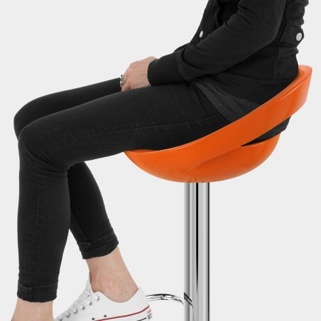 Crescent Bar Stool Orange Seat Image