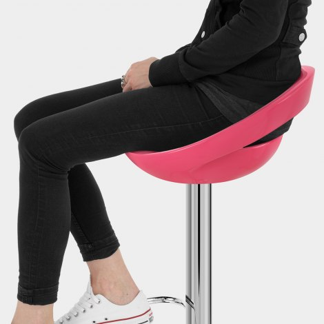 Crescent Bar Stool Pink Seat Image
