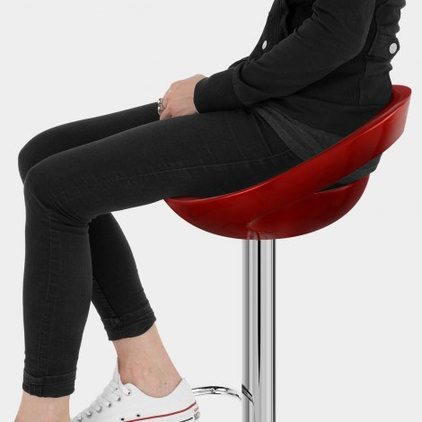 Crescent Bar Stool Red Seat Image