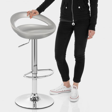 Crescent Bar Stool Silver Features Image