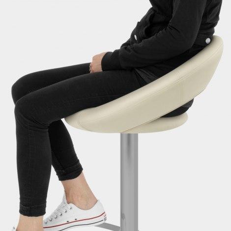Brushed Crescent Stool Cream Seat Image