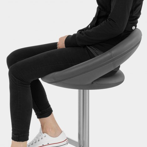 Real Leather Crescent Bar Stool Grey Seat Image