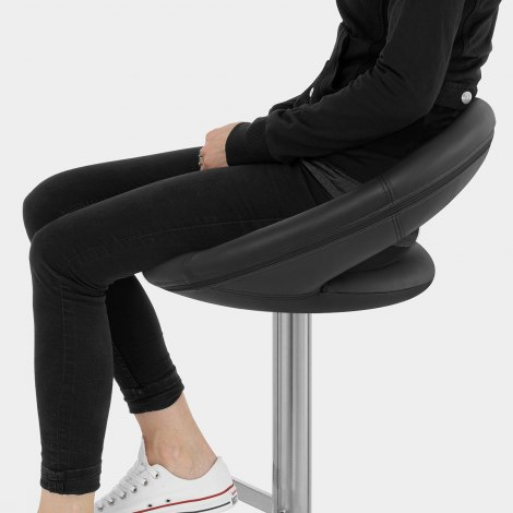 Real Leather Crescent Bar Stool Black Seat Image