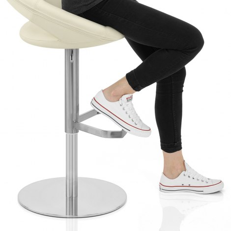 Real Leather Crescent Bar Stool Cream Seat Image