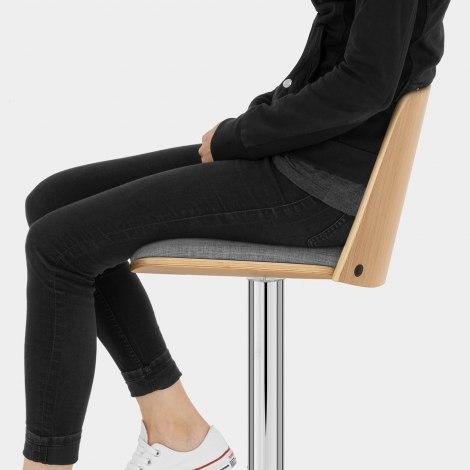 Crest Oak Stool Grey Fabric Seat Image