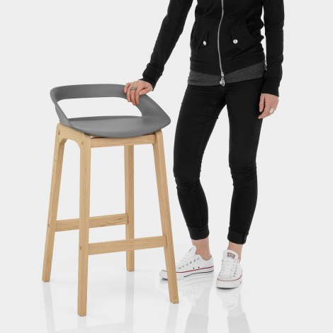 Crew Wooden Bar Stool Grey Features Image