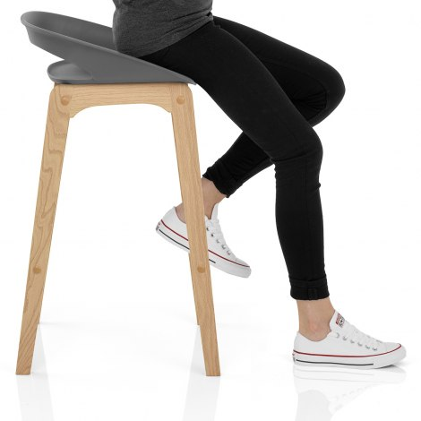 Crew Wooden Bar Stool Grey Seat Image
