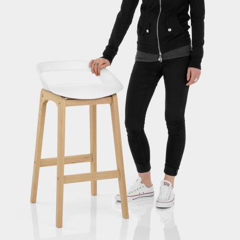 Crew Wooden Bar Stool White Features Image