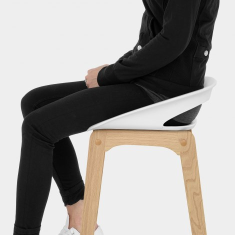 Crew Wooden Bar Stool White Seat Image