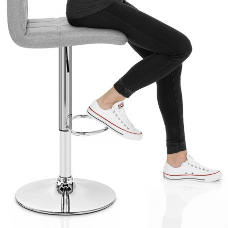 Criss Cross Bar Stool Grey Fabric Seat Image