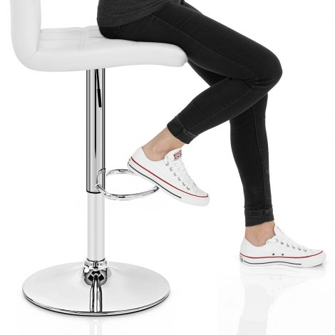 Criss Cross Bar Stool White Seat Image