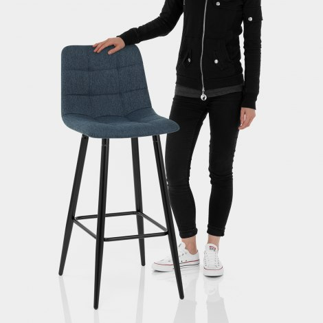 Croft High Bar Stool Blue Fabric Features Image