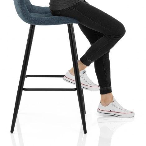 Croft High Bar Stool Blue Fabric Seat Image