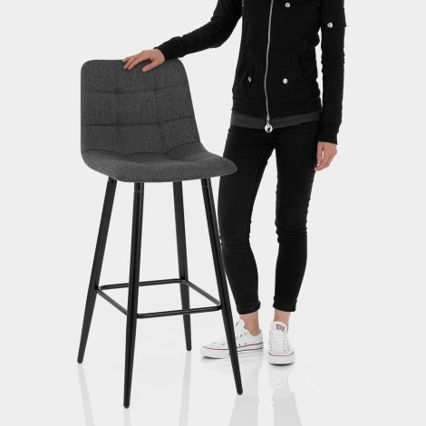 Croft High Bar Stool Charcoal Fabric Features Image