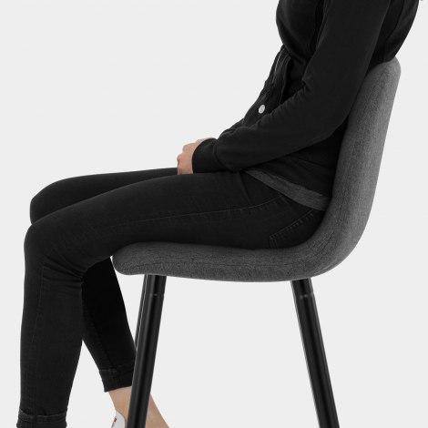 Croft High Bar Stool Charcoal Fabric Seat Image