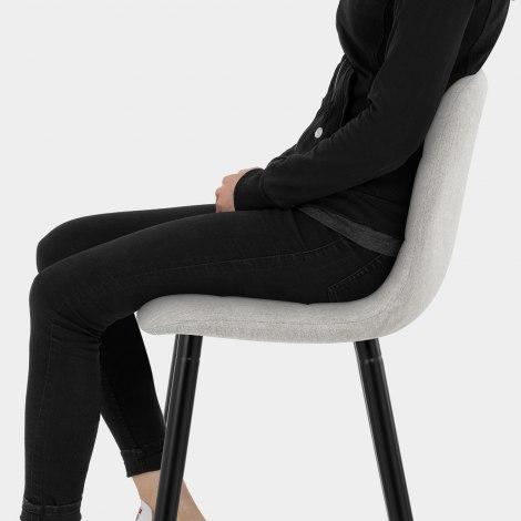 Croft High Bar Stool Grey Fabric Seat Image