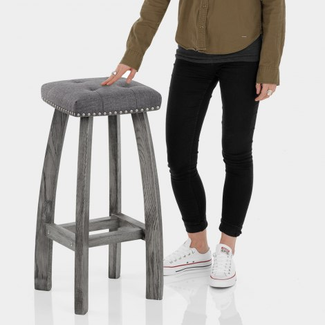Cromwell Bar Stool Charcoal Fabric Features Image