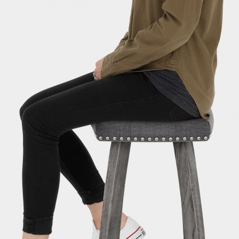 Cromwell Bar Stool Charcoal Fabric Seat Image