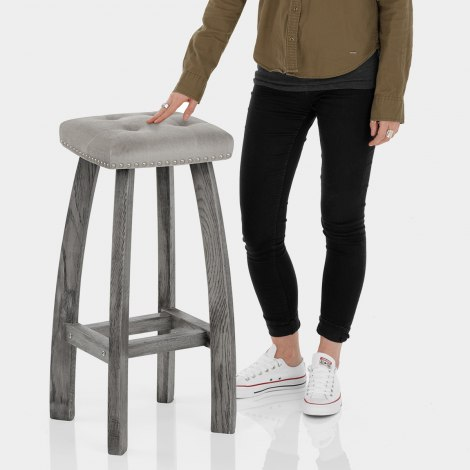 Cromwell Bar Stool Grey Velvet Features Image