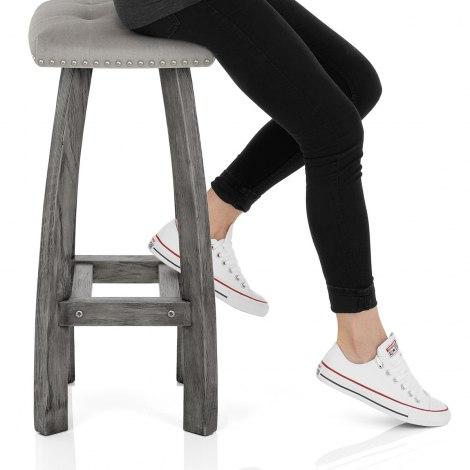 Cromwell Bar Stool Grey Velvet Seat Image