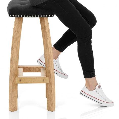 Cromwell Oak Stool Black Velvet Seat Image