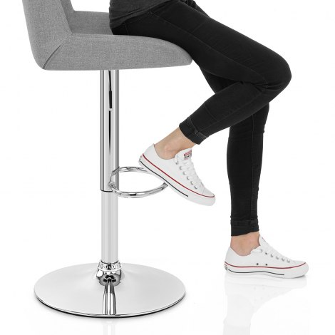 Cuba Bar Stool Grey Fabric Seat Image