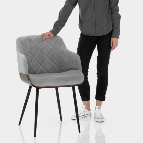 Dakota Dining Chair Grey Velvet Features Image