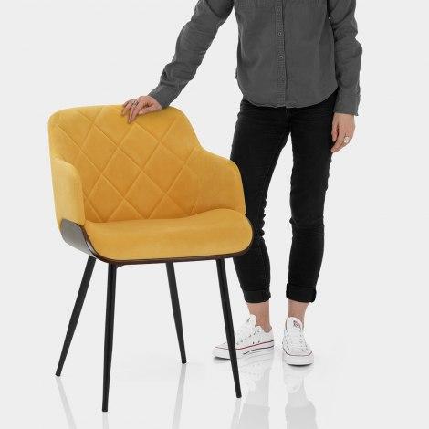 Dakota Dining Chair Mustard Velvet Features Image