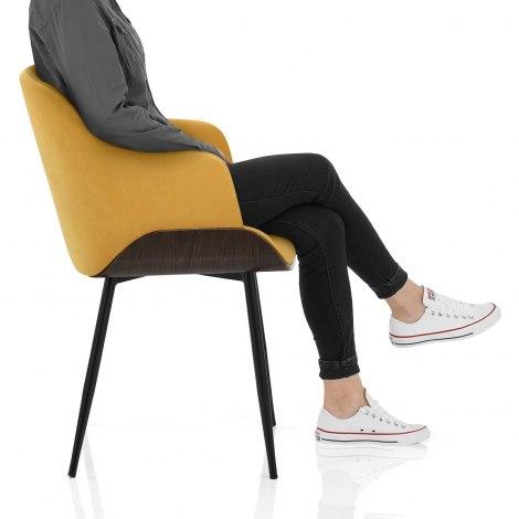 Dakota Dining Chair Mustard Velvet Frame Image