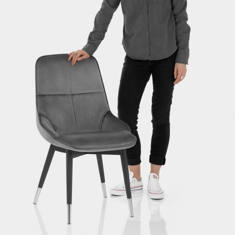 Dallas Dining Chair Grey Velvet Features Image
