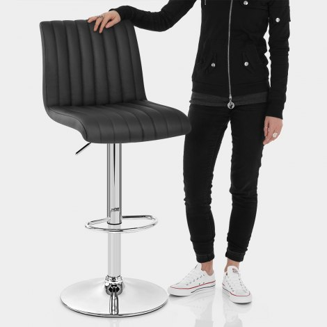 Debut Real Leather Bar Stool Black Features Image