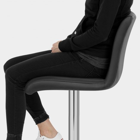 Debut Real Leather Bar Stool Black Seat Image