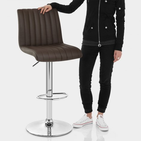 Debut Real Leather Bar Stool Brown Features Image