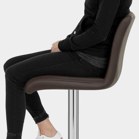 Debut Real Leather Bar Stool Brown Seat Image