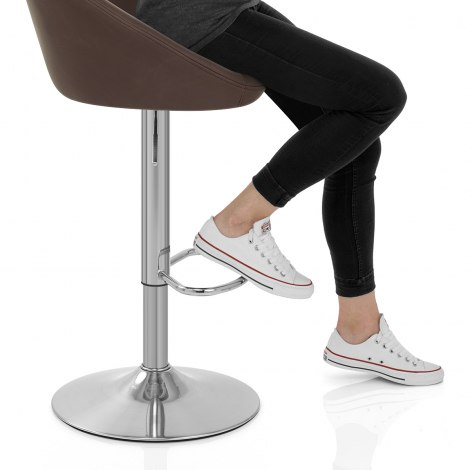 Decco Brushed Bar Stool Brown Seat Image